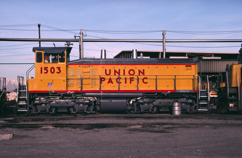 UP SW1500 1503; ex WP 1503. Salt Lake City. May 11, 1984. (Don Strack Photo)