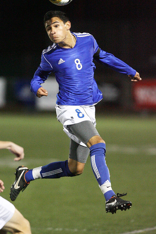 . El Rancho\'s Alex Roldan puts a head to the ball in Saturdays Division 1 CIF Playoff Championship against San Clemente. El Rancho went on to win 3-0 Saturday at Warren High School in Downey. (Correspondent photo by Chris Burt/Sports)