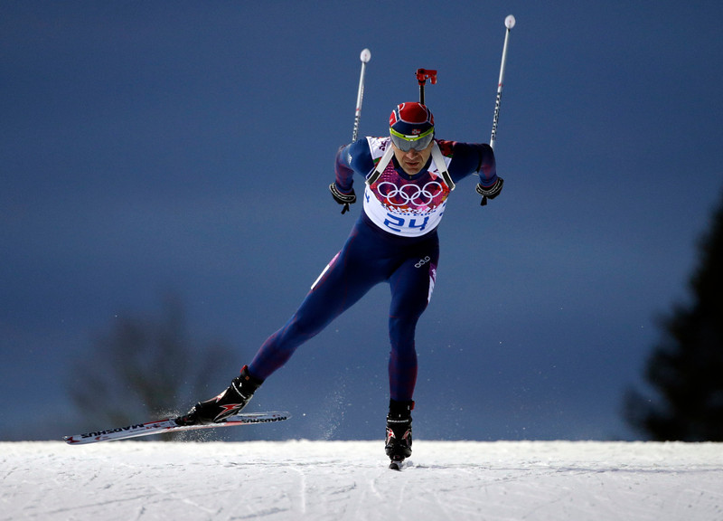 . Norway\'s Ole Einar Bjoerndalen competes to win the gold medal in the men\'s biathlon 10k sprint, at the 2014 Winter Olympics, Saturday, Feb. 8, 2014, in Krasnaya Polyana, Russia. (AP Photo/Felipe Dana)