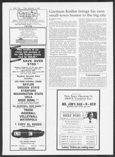 Daily Trojan, Vol. 100, No. 9, September 13, 1985