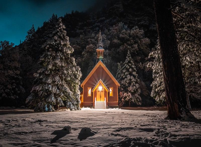 Yosemite Chapel Winter Snow Elliot McGucken Fine Art Landscape Nature Photography Luxury Prints!