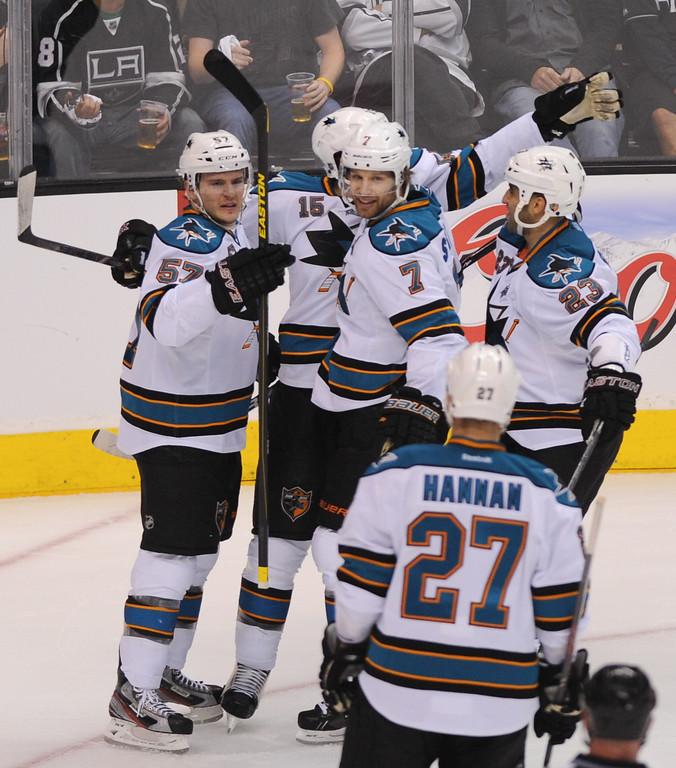 . The San Jose Sharks celebrate a second-period by Brad Stuart (#7), Thursday, May 16, 2013, at Staples Center. (Michael Owen Baker/Staff Photographer)