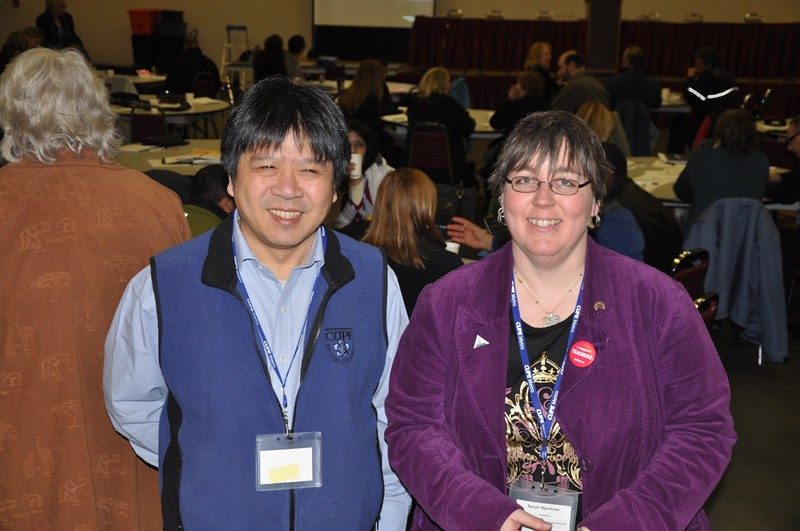 Conference coordinators Frank Lee _CUPE 1004_ and Sarah Bjorknas _CUPE 23__ just before the panel discussion.JPG