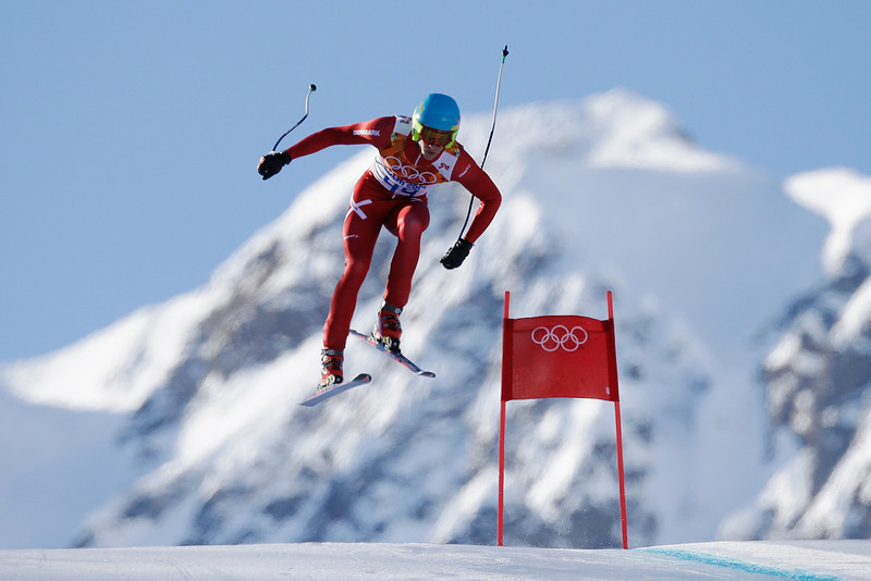 . Christoffer Faarup of Denmark competes during the Alpine Skiing Men\'s Super Combined Downhill on day 7 of the Sochi 2014 Winter Olympics at Rosa Khutor Alpine Center on February 14, 2014 in Sochi, Russia.  (Photo by Ezra Shaw/Getty Images)