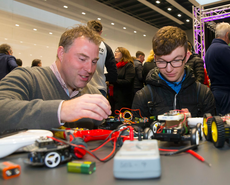 FREE TO USE IMAGE. Pictured at WIT's Autumn Open Days in the WIT Arena are Fergal O'Hanlon from the School of engineering with Sean Chapman from Ramsgrange Community School. Picture: Patrick Browne  WIT's Autumn Open Days in the WIT Arena were on Friday, 23 November and Saturday, 24 November 2018. The Schools Open Day on Friday attracted thousands of secondary school students.  The event focused on undergraduate entry for September 2019 but also showcases the opportunities for postgraduate learning and research and flexible study through our School of Lifelong Learning & Education.  The institute has 70 CAO courses across a range of discipines including,business,engineering and architecture, sports and nursing, law, social sciences, arts and psychology, the creative & performing arts, languages, tourism and hospitality, science and computing.   WIT's Autumn Open Days included presentations on all CAO courses, including new courses for 2019, as well as the opportunity to experience what it would be like to study on those courses and talk to lecturers directly.