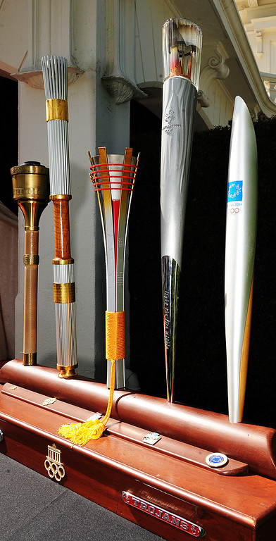 . Louis Zamperini, 97, who attended USC, was selected 2015 Tournament of Roses Grand Marshal.  Zamperini carried these five Olympic torches for Olympics in 1984, 1996, 1998, 2002, and 2004. Olympian and World War II prisoner of war, Louis Zamperini, a true American Hero who survived excessive hardships. (Photo by Walt Mancini/Pasadena Star-News)