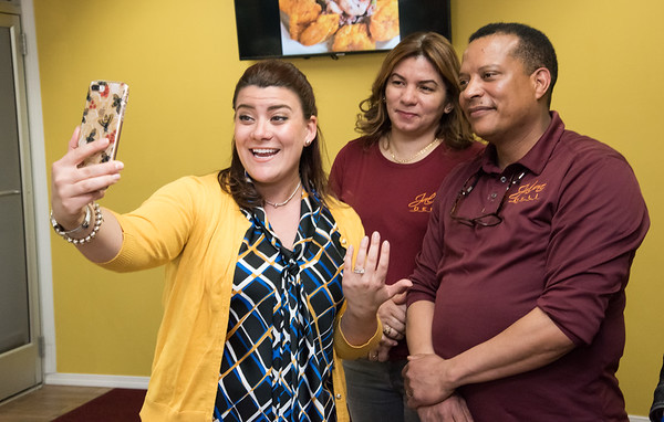 04/16/19 Wesley Bunnell | Staff Jalao Deli and Restaurant located at 647 Stanley St held a grand re-opening on Tuesday afternoon. Mayor Erin Stewart steams live on Facebook with co-owner Adalgiza Perez and husband and co-owner Domingo Santos.