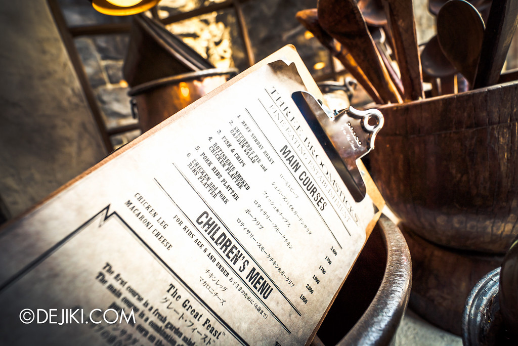 Universal Studios Japan - The Wizarding World of Harry Potter - Three Broomsticks menu
