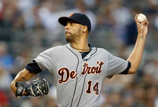 . Making his Tigers pitching debut, Detroit Tigers starting pitcher David Price delivers in the second inning of a baseball game against the New York Yankees at Yankee Stadium in New York, Tuesday, Aug. 5, 2014.  (AP Photo/Kathy Willens)