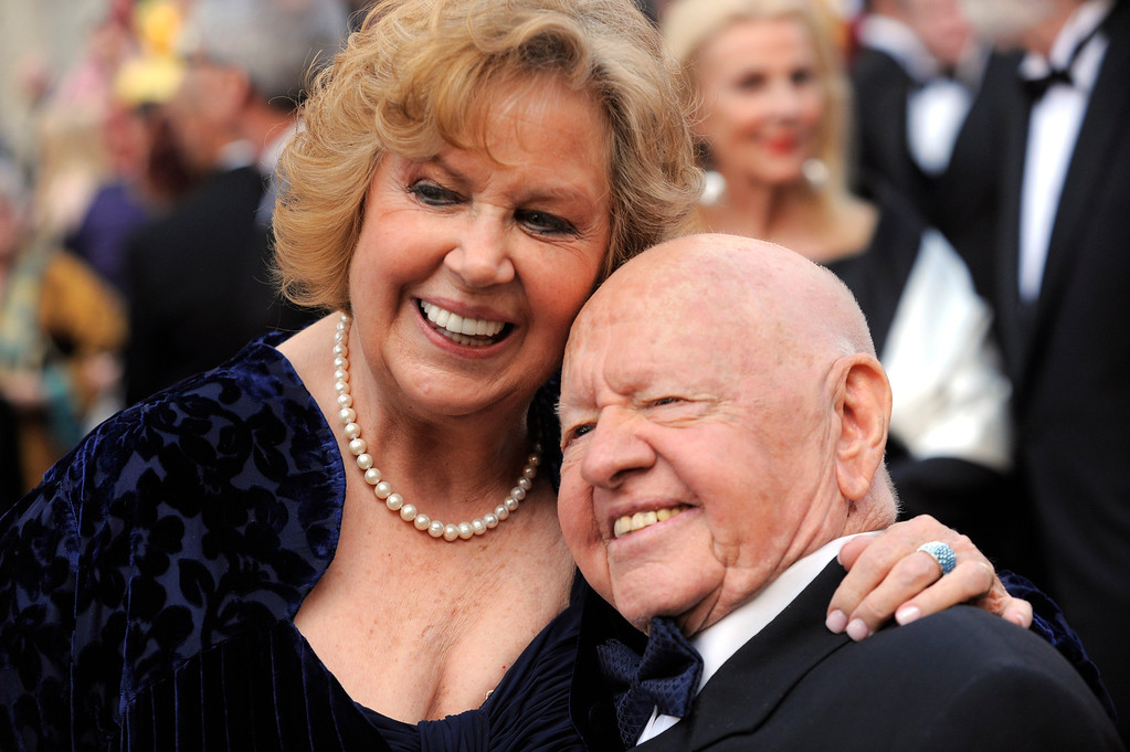 . In this Sunday,  March 7, 2010, file photo, Mickey Rooney, right, and Jane Rooney arrive during the 82nd Academy Awards, in the Hollywood section of Los Angeles.  (AP Photo/Chris Pizzello, File)