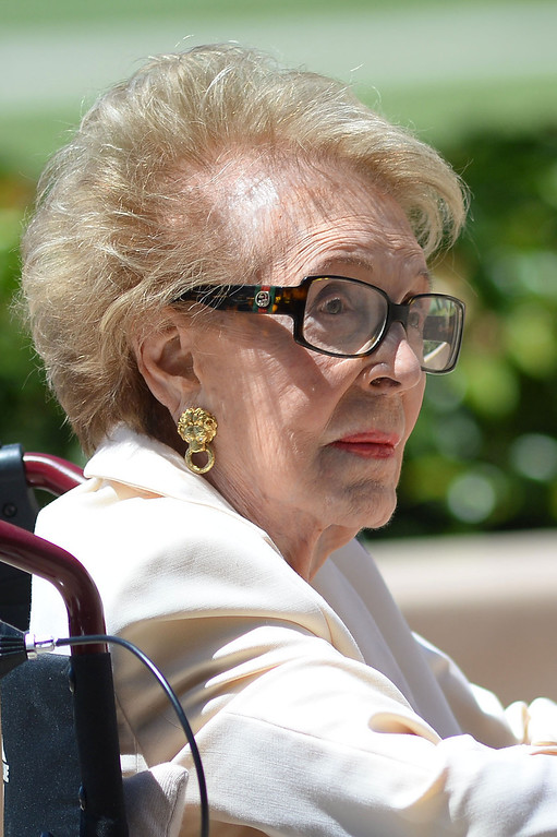 . Nancy Reagan visits the grave site of her husband, Ronald Reagan, at the Ronald Reagan Presidential Library and Museum June 5, 2014 in Simi Valley.  (Andy Holzman/Los Angeles Daily News)