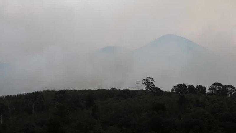Fire burning on the slopes of the Outeniqua Mountains.