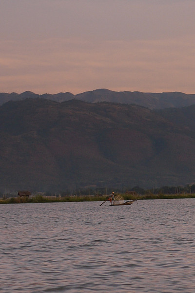 Sunset over the mountains near Inle Lake, Burma (Myanmar).