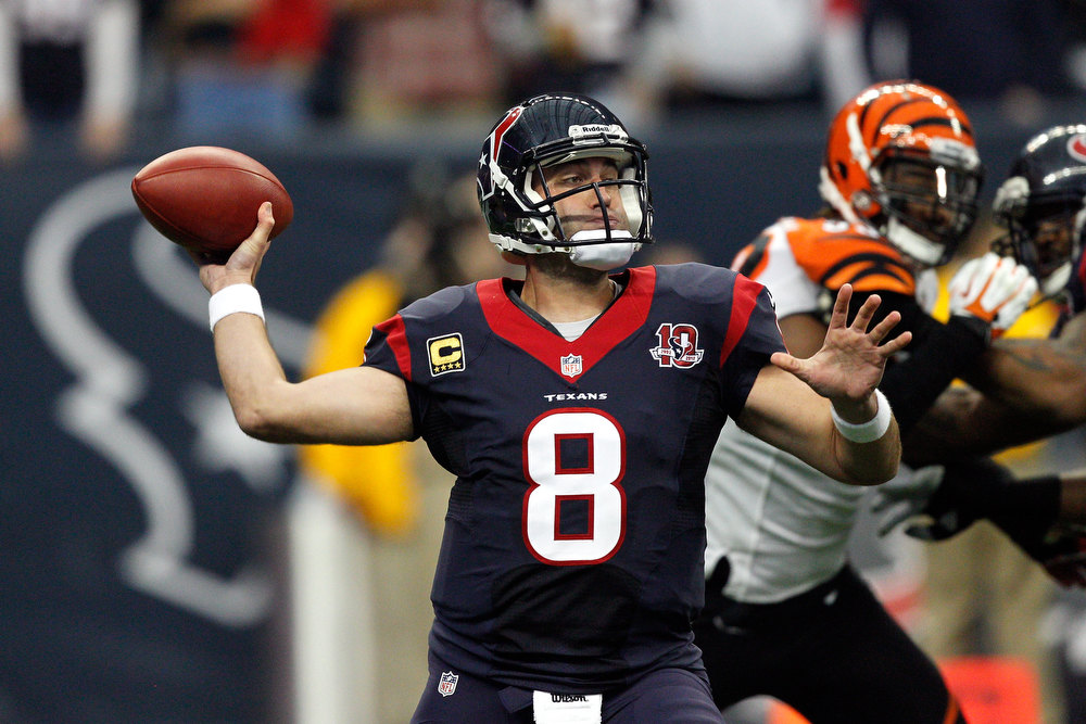 Description of . Quarterback Matt Schaub #8 of the Houston Texans throws a pass against the Cincinnati Bengals during their AFC Wild Card Playoff Game at Reliant Stadium on January 5, 2013 in Houston, Texas.  (Photo by Bob Levey/Getty Images)