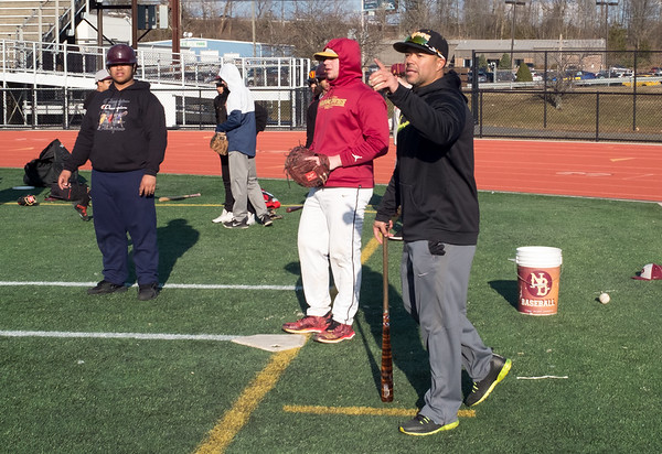 03/19/19 Wesley Bunnell | Staff New Britain baseball Head Coach Roberto Mercado practices situational drills with his team on their second day of practice on Tuesday March 19th.