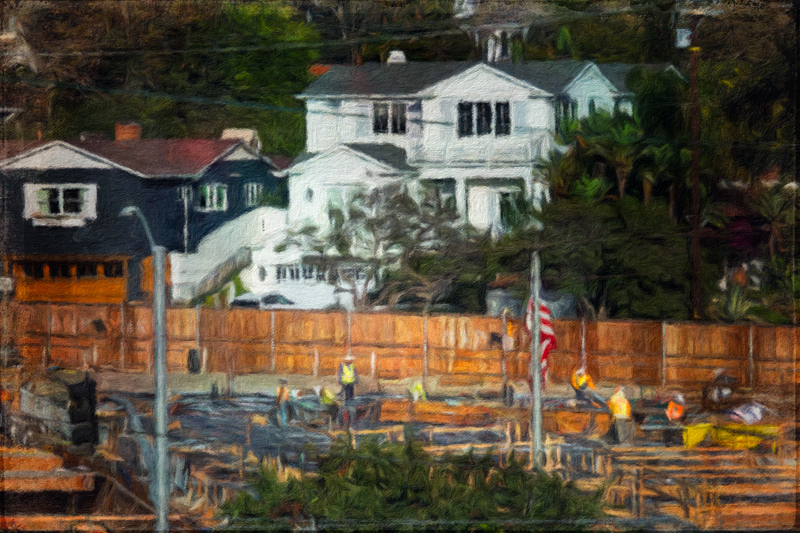 November 13 - Houses, trees, shopping center and a flag pole.jpg