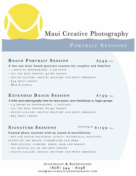 C. Portrait Pricing - Maui Creative Photography.jpg