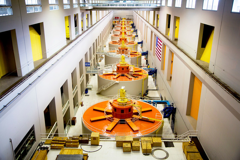 The 8 generators of Powerhouse 2 at Bonneville Dam.