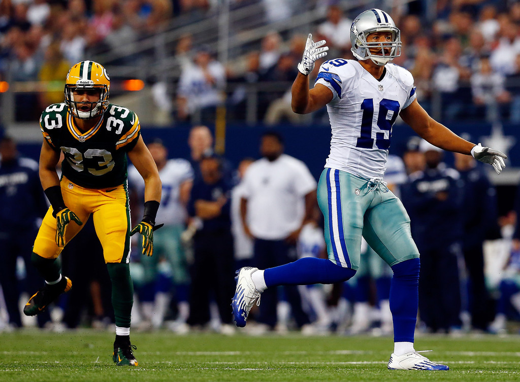 . Wide receiver Miles Austin #19 of the Dallas Cowboys reacts after an incomplete pass in the first quarter against the Green Bay Packers during a game at AT&T Stadium on December 15, 2013 in Arlington, Texas.  (Photo by Tom Pennington/Getty Images)