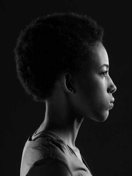 Profile of an African American girl.