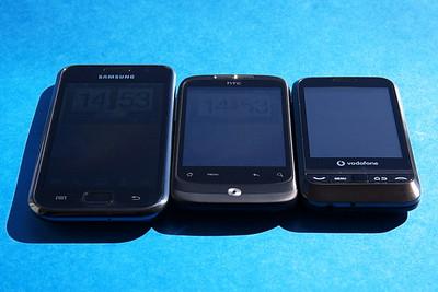 Srovnání displejů - Galaxy S, HTC Wildfire, Vodafo