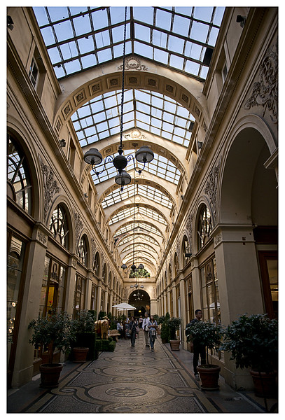 Inside the Galerie Vivienne.  One of the first 'shopping malls' and opened in 1823.