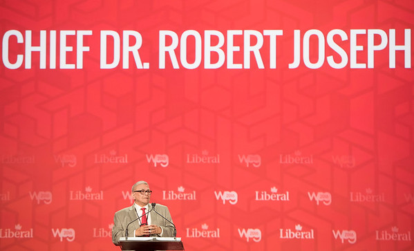 DAVID LIPNOWSKI / WINNIPEG FREE PRESS  Chief Dr. Robert Joseph delivers his Keynote during the opening of the 2016 Liberal Biennial Convention at RBC Convention Centre Thursday May 25, 2016.