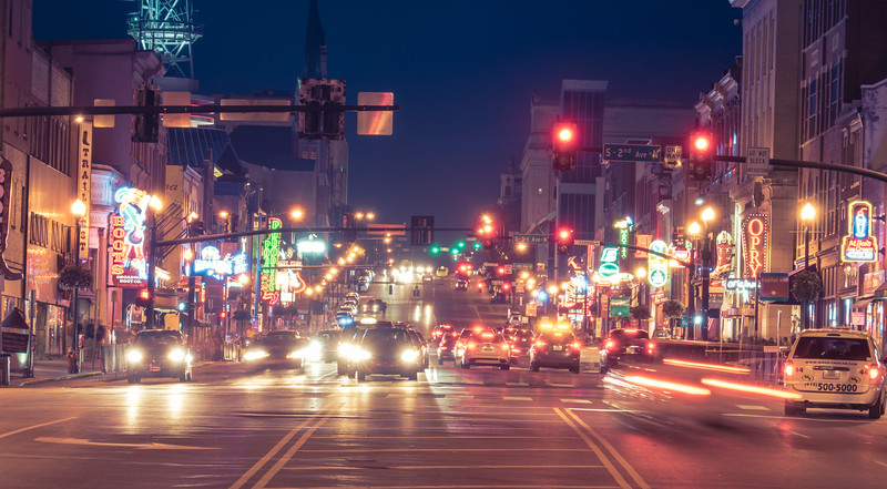 2nd Ave in Nashville at Night