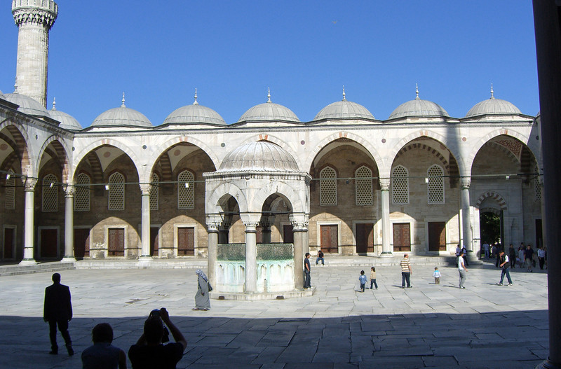 135. Courtyard, Blue Mosque. The courtyard is the same size as the prayer hall inside the mosque.