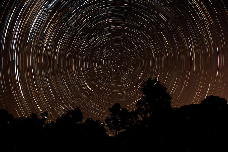 South Polar Star Trails - 1/3/2014 (Processed stack)
