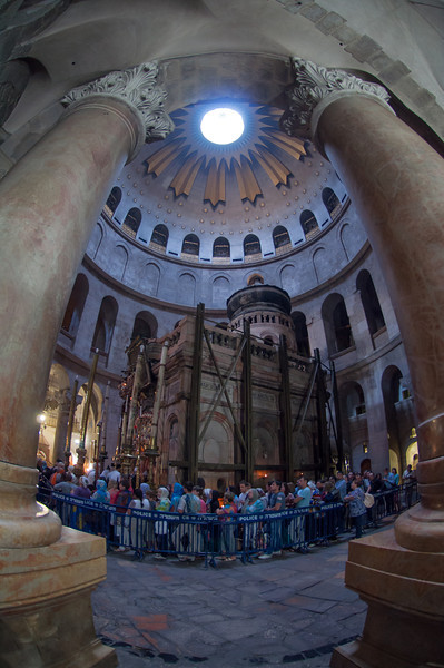 Inside the Church of the Holy Sepulchre in historic Jerusalem, Israel.