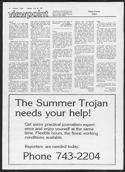 Summer Trojan, Vol. 90, No. 5, June 30, 1981