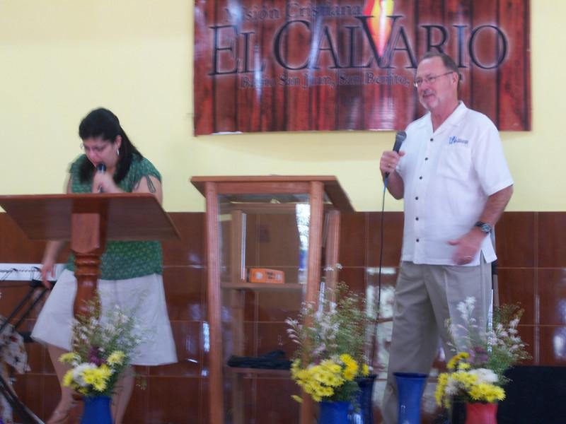 Pastor Len Showalter preaching the gospel.