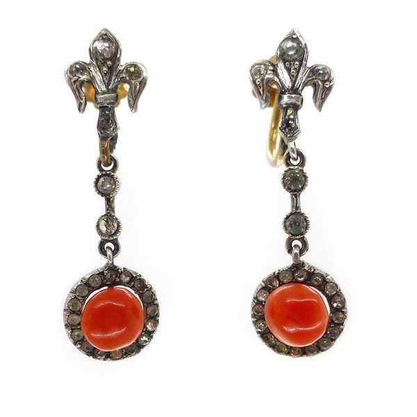 Antique Victorian French Fleur De Lis Silver & Gold Coral Paste Screw Back Earrings