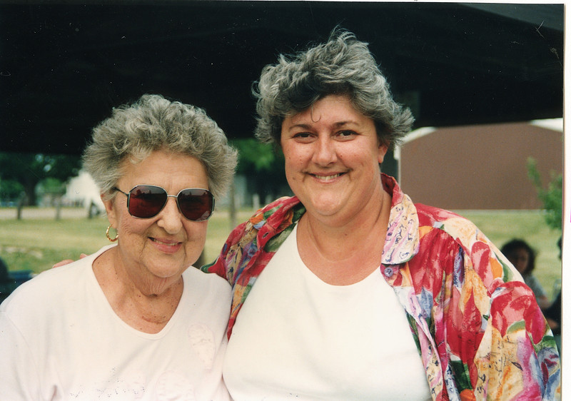"""Dorothy Kathryn (Mathiot) Dew (1925-1996), Sandra Lynn Dew (1952-)  Written in the Rogers Reunion Photo Album Volume III page 53 """"Bob's wife Dorothy and daughter Sandy Dew 1957 Reunion"""""""