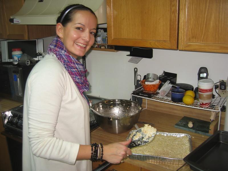 Olivia prepares the Rice Krispies Treats