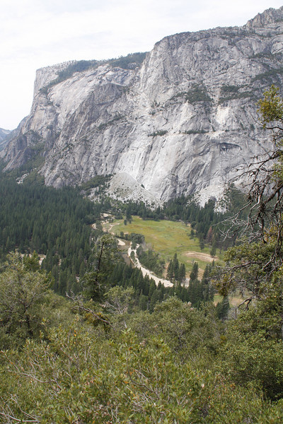 Looking down Yosemite Valley towards El Capitan, with the Merced River flowing through.