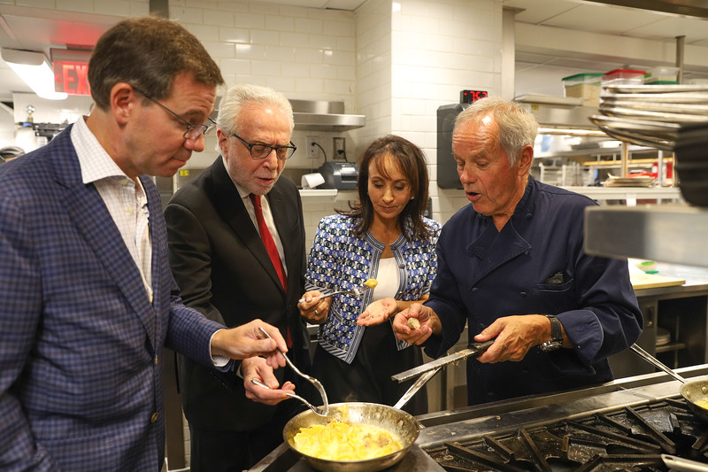 Wolf Blitzer, Wolfgang Puck and Friends.  photo by Bruce Allen, Wolfgang Puck Opening Reception 2019