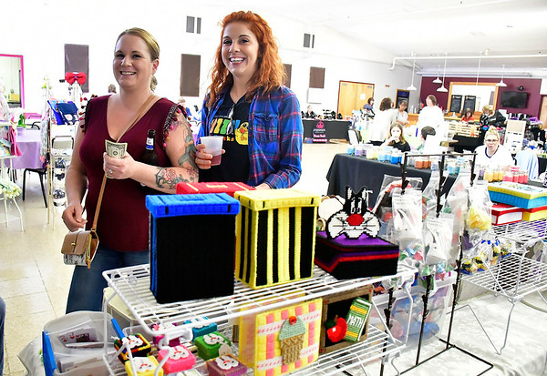 4/13/2019 Mike Orazzi | Staff Melissa McCarthy and Traci McNiff shop during the Bristol Swedish Social Club's Spring Craft & Vendor Show on Saturday at the club in Bristol.
