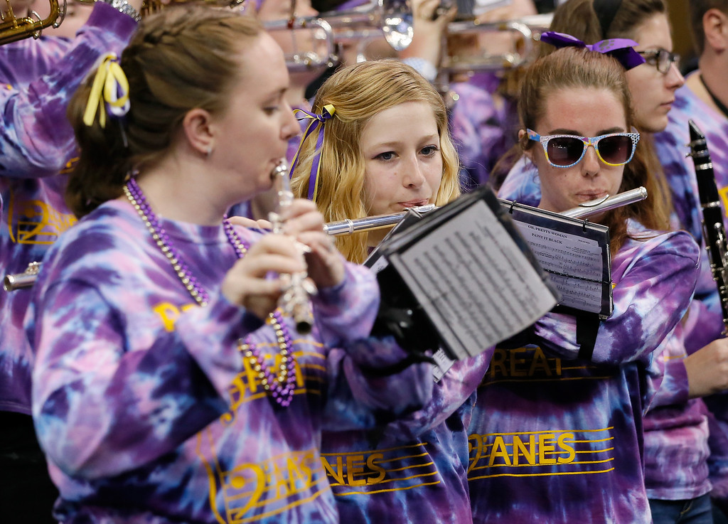 . ORLANDO, FL - MARCH 20:  The Albany Great Danes band performs as the Great Danes take on the Florida Gators during the second round of the 2014 NCAA Men\'s Basketball Tournament at Amway Center on March 20, 2014 in Orlando, Florida.  (Photo by Kevin C. Cox/Getty Images)