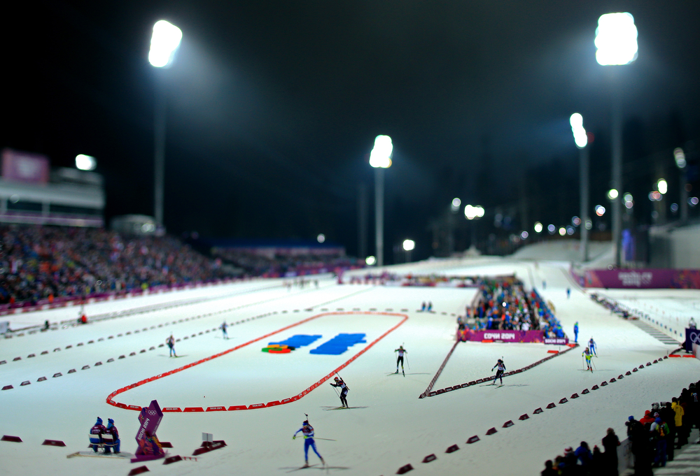 . (EDITORS NOTE: A TILT AND SHIFT LENS WAS USED IN THE CREATION OF THIS IMAGE) Skiers compete in the Women\'s 10 km Pursuit during day four of the Sochi 2014 Winter Olympics at Laura Cross-country Ski & Biathlon Center on February 11, 2014 in Sochi, Russia.  (Photo by Richard Heathcote/Getty Images)
