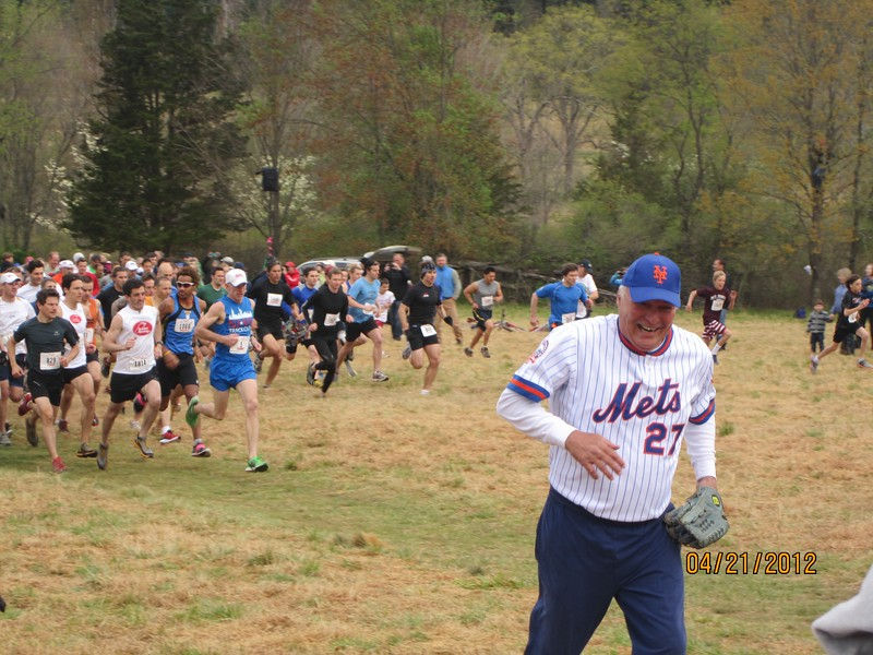 """Craig Swan after the """"First Pitch"""" start in 2012 running for his life away from the running crowd."""