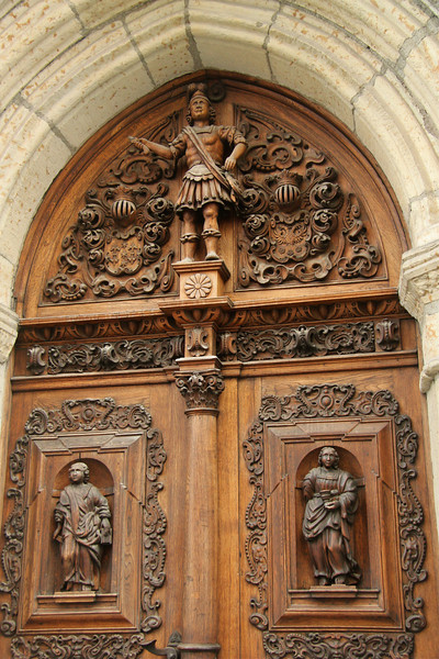 Stunningly intricate carved wooden doorway (unfortunately, I didn't get the name of this building) -Tallinn, Estonia