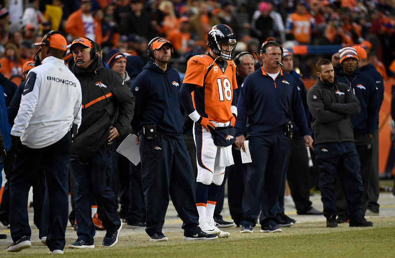 . Peyton Manning (18) of the Denver Broncos watches from the sidelines in the third quarter. The Denver Broncos played the Indianapolis Colts in an AFC divisional playoff game at Sports Authority Field at Mile High in Denver on January 11, 2015. (Photo by Joe Amon/The Denver Post)