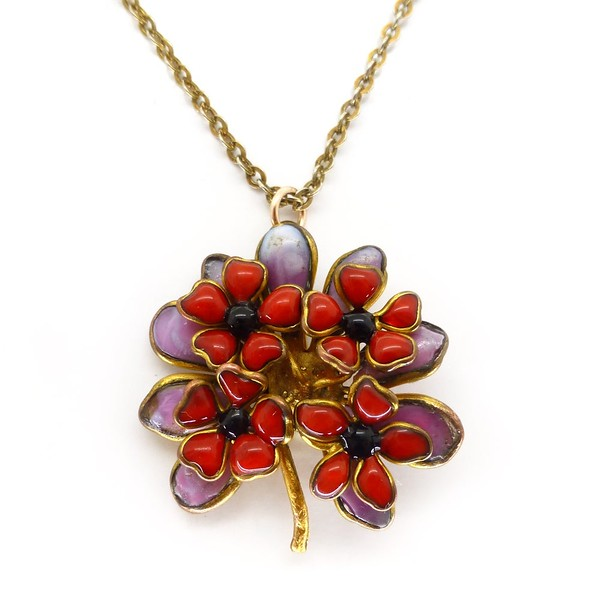 VINTAGE MID-CENTURY FRENCH GRIPOIX POURED GLASS RED & PINK PETAL FLOWER PENDANT