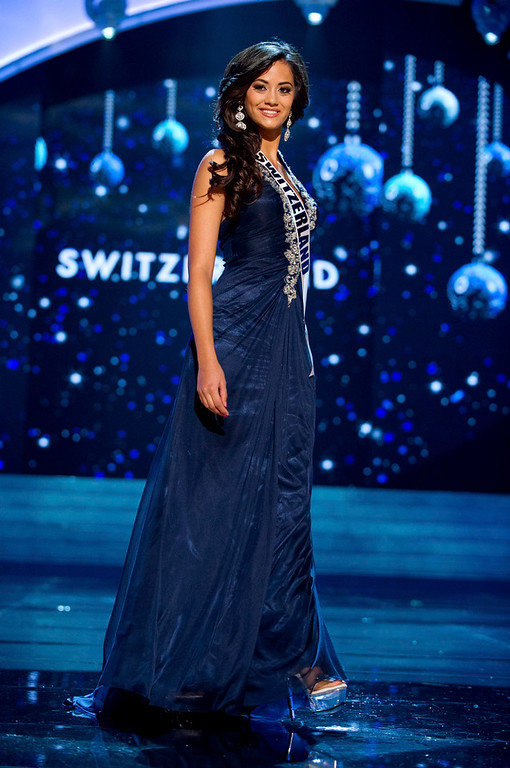 . Miss Switzerland 2012 Alina Buchschacher competes in an evening gown of her choice during the Evening Gown Competition of the 2012 Miss Universe Presentation Show in Las Vegas, Nevada, December 13, 2012. The Miss Universe 2012 pageant will be held on December 19 at the Planet Hollywood Resort and Casino in Las Vegas. REUTERS/Darren Decker/Miss Universe Organization L.P/Handout