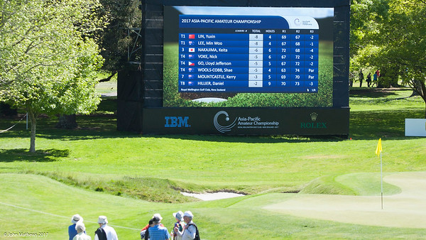Photo of the Leaderboard as at 11.00am on the 3rd day of competition  in the Asia-Pacific Amateur Championship tournament 2017 held at Royal Wellington Golf Club, in Heretaunga, Upper Hutt, New Zealand from 26 - 29 October 2017. Copyright John Mathews 2017.   www.megasportmedia.co.nz
