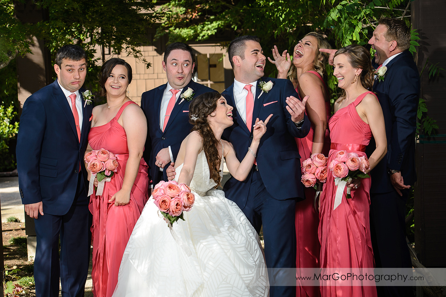 funny portrait of bridal party at Saratoga Foothill Club