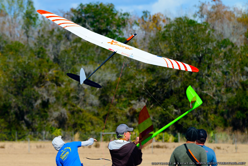 Jody Miller launching - FSS (Florida Soaring Society) contest #1 2018, hosted by the Orlando Buzzards in Christmas, Florida