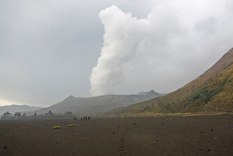 Shot of the smoke from Mount Bromo from afar